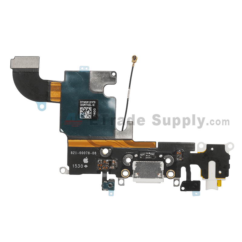 For Apple iPhone 6S Charging Port Flex Cable Ribbon Replacement - White - Grade S+