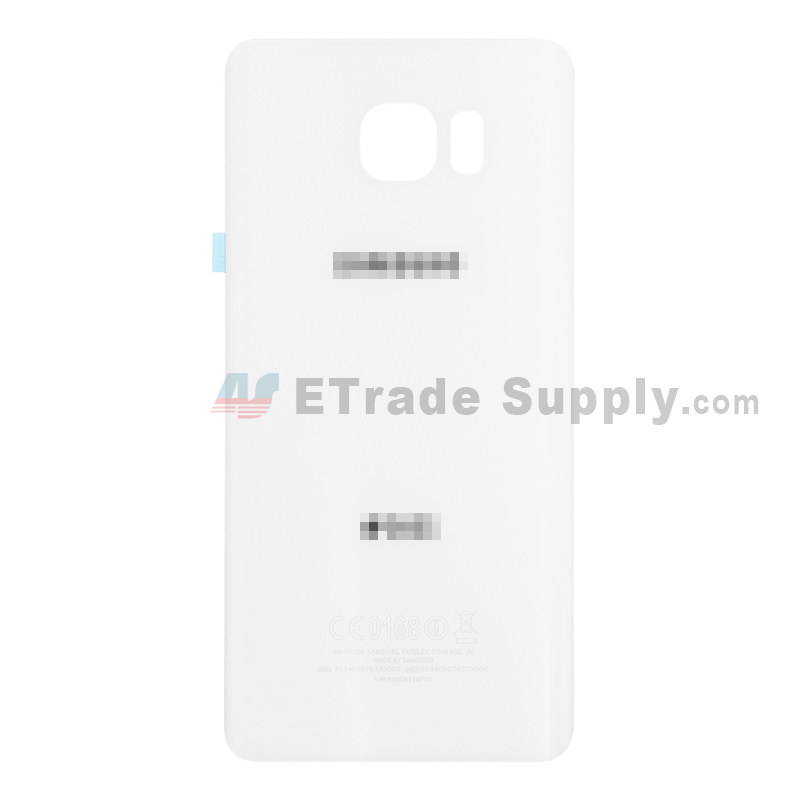 For Samsung Galaxy Note 5 Series Battery Door Replacement - White - With Logo - Grade S+