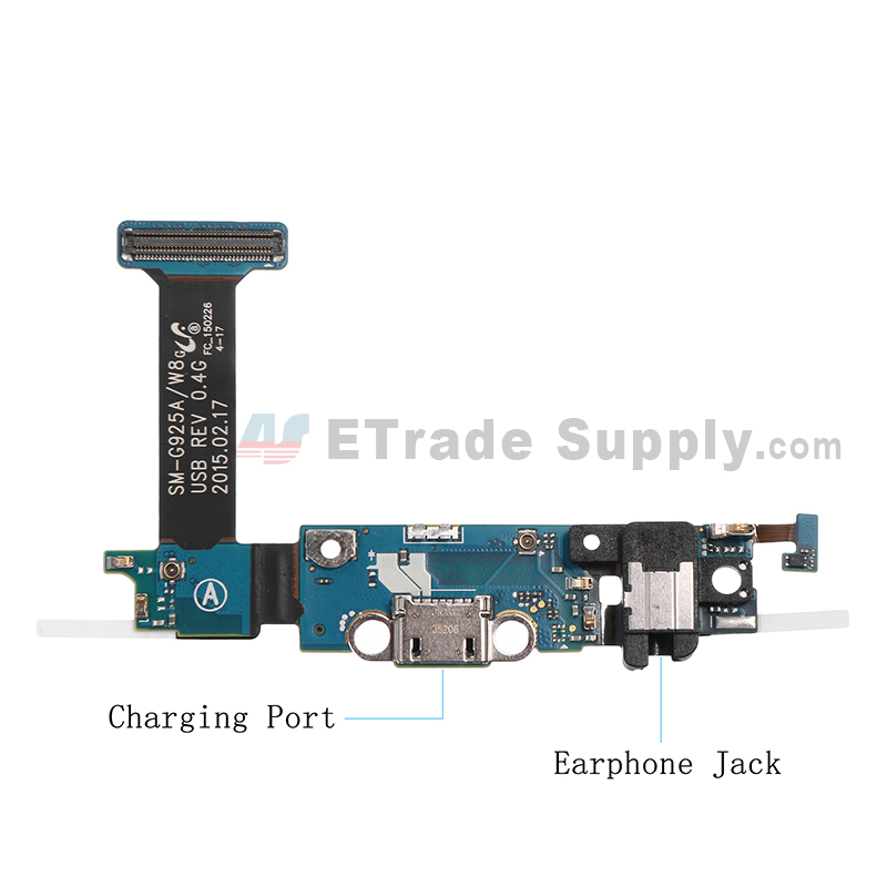 For Samsung Galaxy S6 Edge SM-G925A Charging Port Flex Cable Ribbon with Earphone Jack Replacement - Grade S+