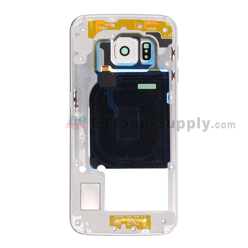 For Samsung Galaxy S6 Edge SM-G925V Rear Housing Replacement - White - Grade S+