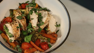 One Pan Balsamic Chicken and Roasted Veggies