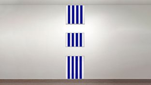 Abstract blue stripes on 3 boxes art