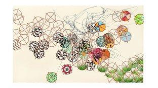Woodblock print abstract art