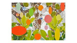 Abstract plants and shapes silkscreen