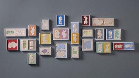 Group of ceramic color blocks art