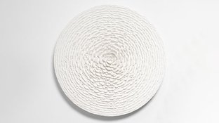 Abstract white concentric rings art