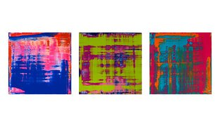 Abstract boxes triptych – blue, green, and red