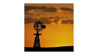 Orange sky and windmill