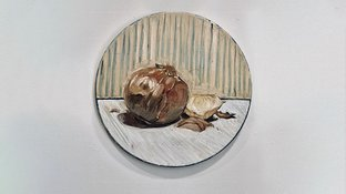 Oil painting of an onion