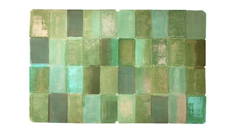 Painted Rectangles in multiple green hues