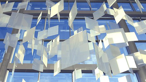 Hanging translucent panes art