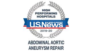 2019 US News high performing abdominal aneurism repair badge 320x180