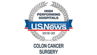 2019 US News high performing colon cancer surgery badge 320x180
