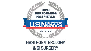 2019 US News high performing gastroenterology GI surgery badge 320x180