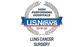 2019 US News high performing lung cancer surgery badge 320x180