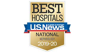 2019 US News national ranking nephrology badge 320x180