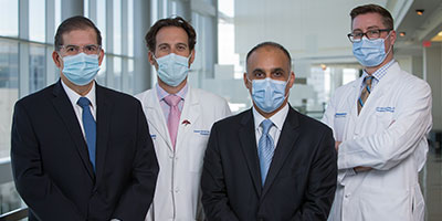 2020 Abdominal Transplant Program Team left to right, Dr. Jorge Marrero, Dr. Steven Hanish, Dr. Parsia Vagefi, and Dr. David Wojciechowski
