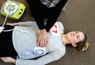 AED defibrillator step six