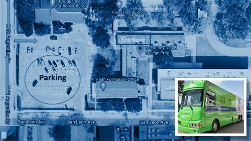 COVID-19 Prevalence Study Cristo Rey Dallas Mobile Health testing site map