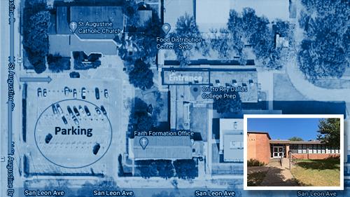 COVID-19 Prevalence Study Cristo Rey Dallas College Prep testing site map