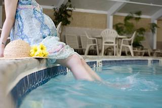 Pregnant woman at pool