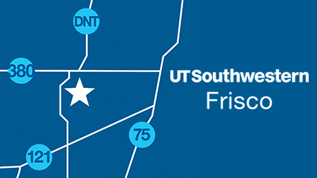 Mapped location of UT Southwestern Frisco Spine Center