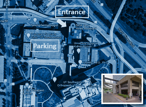 COVID-19 Prevalence Study UT Southwestern Professional Office Building 1 testing site map