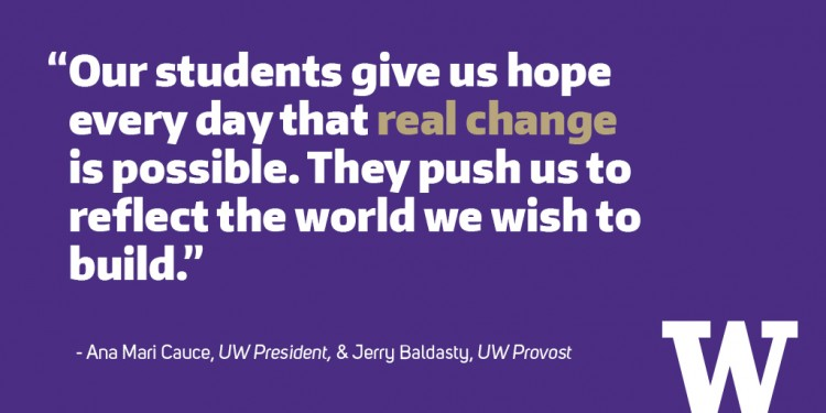 "Quote: ""Our students give us hope every day that real change is possible — they challenge us to have difficult and uncomfortable conversations. They push us to reflect the world we wish to build."""
