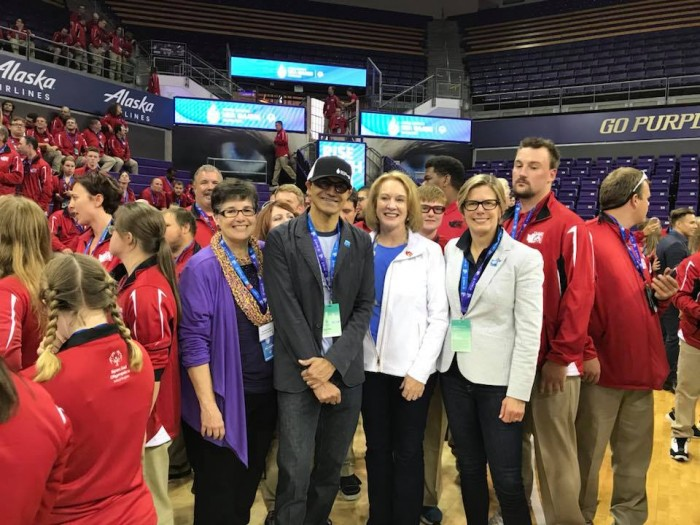 UW President Ana Mari Cauce, Microsoft CEO Satya Nadella, Seattle Mayor Jenny Durkan and President of Kaiser Permanente Washington, Susan Mullaney