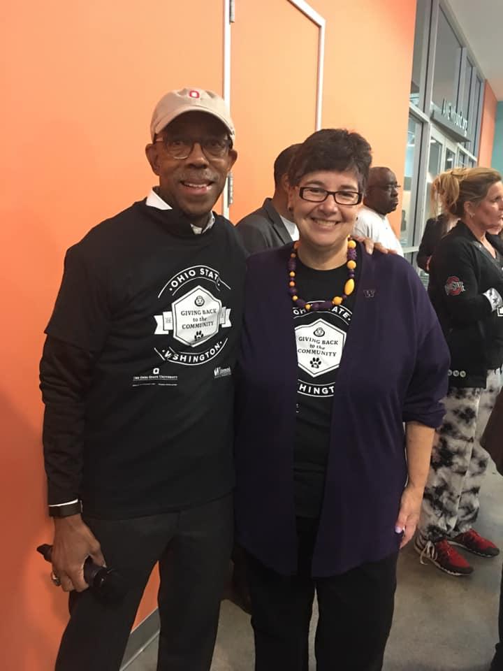 Michael Drake and Ana Mari Cauce at community service event