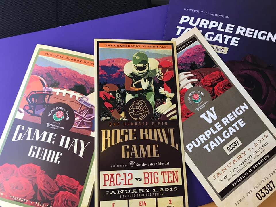 Rose Bowl Game Day Guide, game ticket and Purple Reign Tailgate Ticket