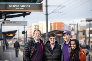 Mark Richards, Ana Mari Cauce, Anthoni Duong and Ahlaam Ibrahim at Othello Station