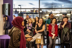 UW student Samia Ali at the Othello Commons opening