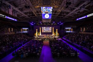 Thousands gather in Hec Ed in the Alaska Airlines Arena for New Student Convocation, September 22, 2019