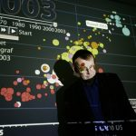Photo of Hans Rosling with graphical plot projected behind him