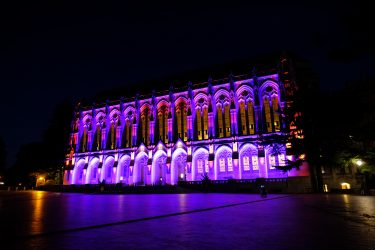Suzzallo Library at night lit with purple and gold