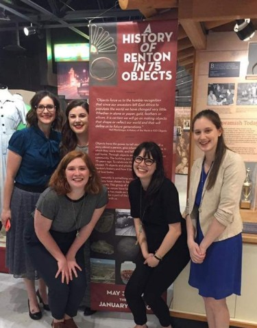 Celebrating the opening of her Renton History Museum exhibit, with (left to right) Sarah Samson, Blair Martin, Molly Winslow, Steffi Terasaki, Marina Mayne.