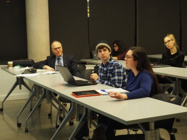 Students raise debate issues and discuss legal and ethical implications of cases in class.