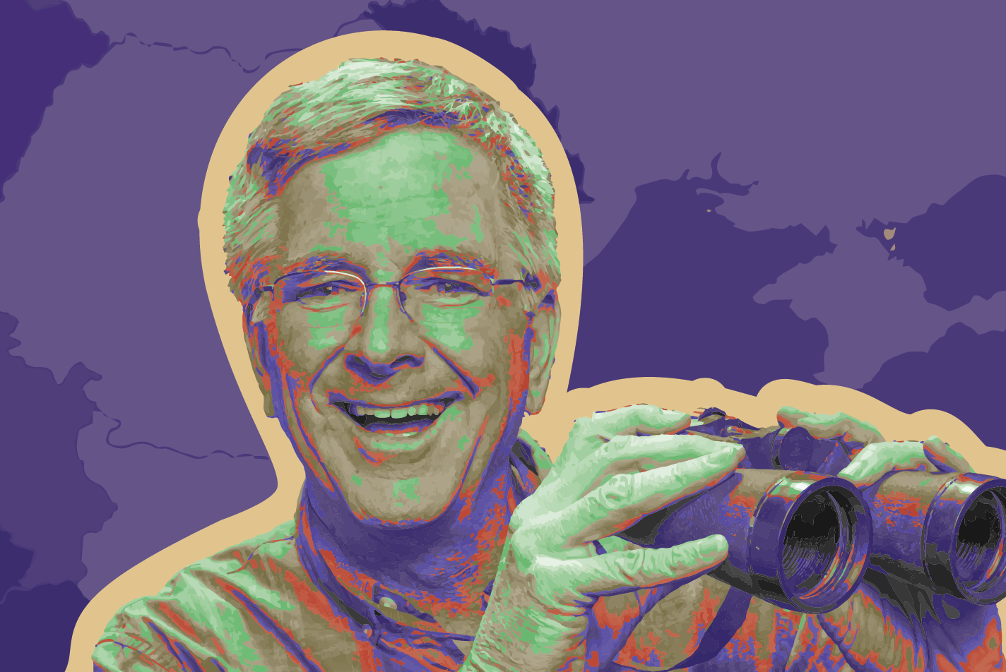 Edited photo of Rick Steves with binoculars
