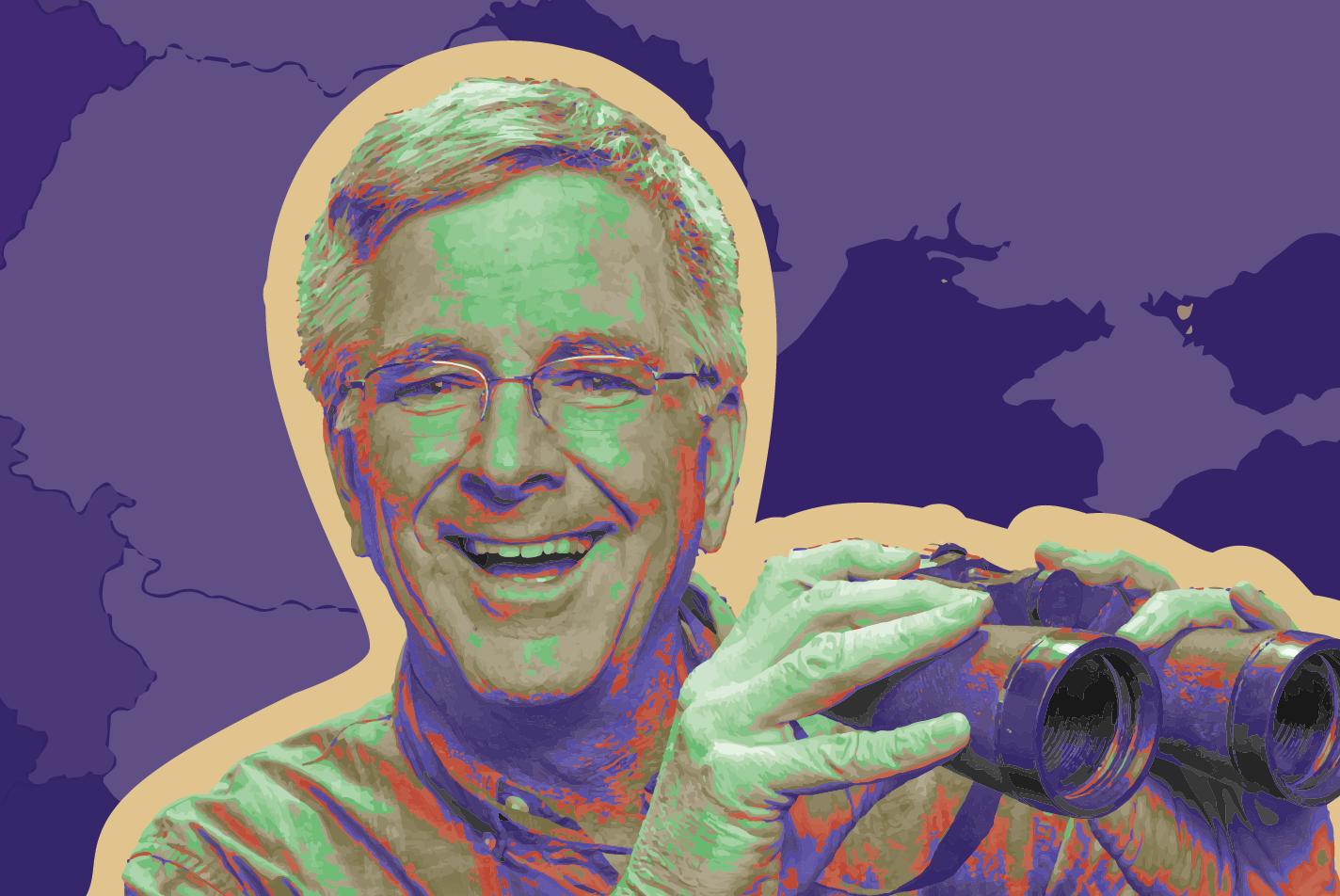 Edited photo of Rick Steves with binoculars