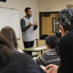Issa Abdulcadir, pre-doctoral instructor in sociology, teaching a group of undergraduate students