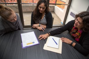 India Ornelas (far right), chair of the School of Public Health's Diversity Committee, says that passing the new core competency was a collaborative effort involving many meetings, presentations and informal conversations to communicate the importance of the proposed addition. Photo: Filiz Efe McKinney.