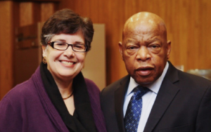 President Ana Mari Cauce with Rep. John Lewis at Meany Theater on February 23, 2017. Photo: Angela Carlyle.