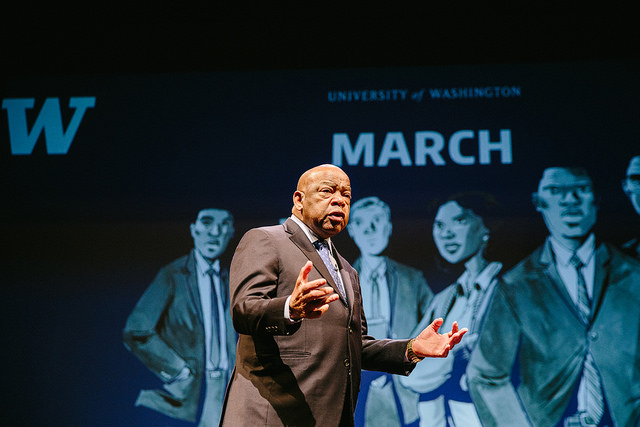 "Rep. Lewis shared his story — now protrayed in the graphic novel ""March"" — with the UW community in February. Photo: University Marketing & Communications."