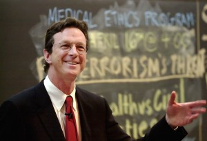"4/11/02 Michael Crichton '64, HMS '69 speaks on ""The Media and Medicine"" at Harvard Medical School in Boston, MA on Thursday, April 11, 2002. staff photo by Jon Chase/Harvard University News Office"