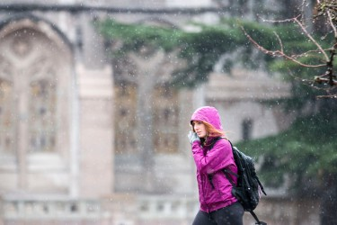 Student in purple rain jacket crosses Red Square on a rainy day