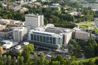 Aerial view of UW Medical Center with UW campus in background.