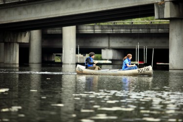 Students canoeing on Union Bay, Waterfront Park, Montlake, near University of Washington.