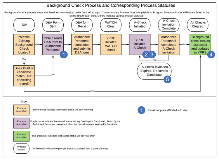 Background check process and corresponding process statuses graphic depiction