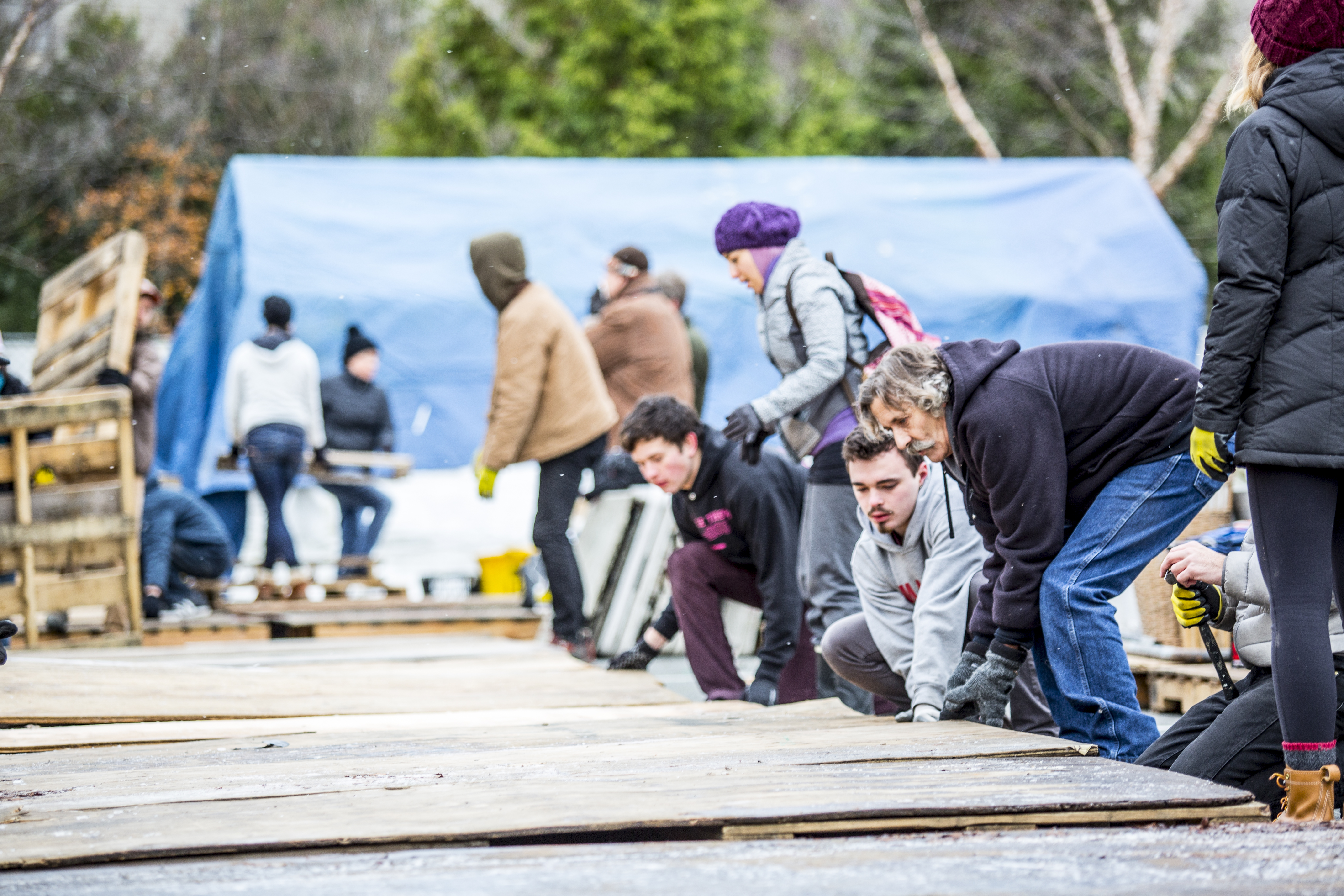 Students, faculty and staff joined Tent City 3 residents to help the community move in